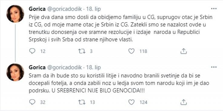 Faksimil statusa na Twitteru Gorice Dodik
