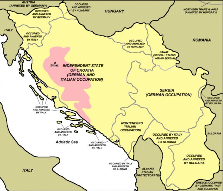 Označeno ružičastom: Slobodna teritorija koju su partizani  kontrolirali 1942. godine