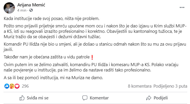 Objava na Facebooku