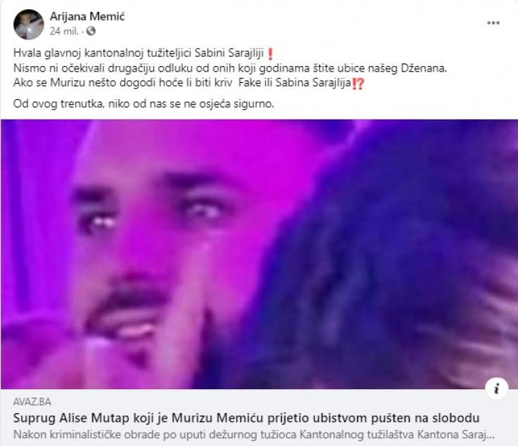 Faksimil statusa Arijane Memić