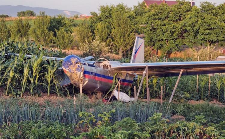 Mali avion pao u polje kukuruza