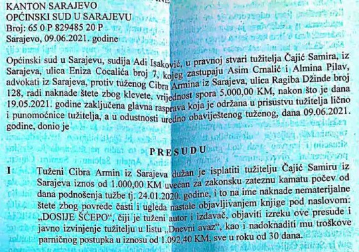 Faksimil presude Općinskog suda u Sarajevu