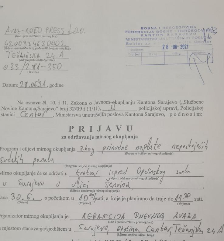 Fakismil prijave policijskoj upravi Centar koja je uredno protokolisana