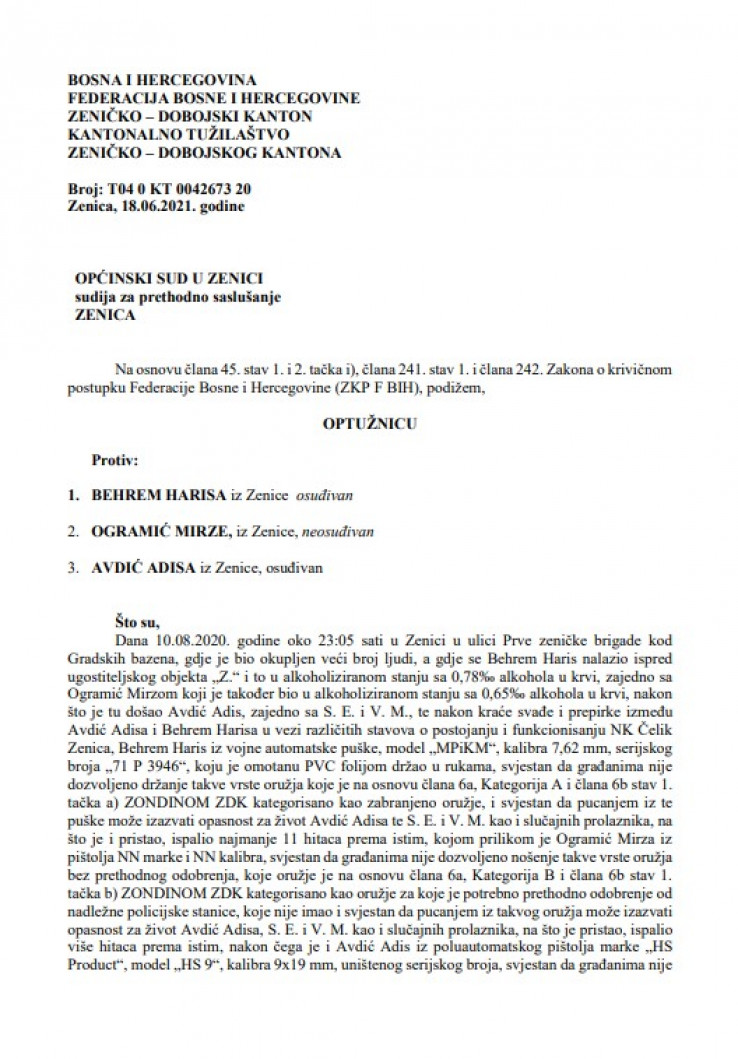 Faksimil optužnice ZDK