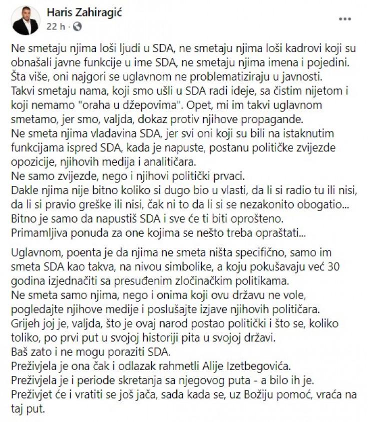 Objava Zahiragića na Facebooku