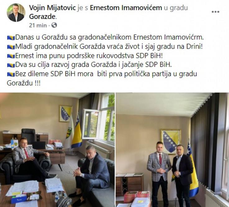 Objava Mijatovića na Facebooku