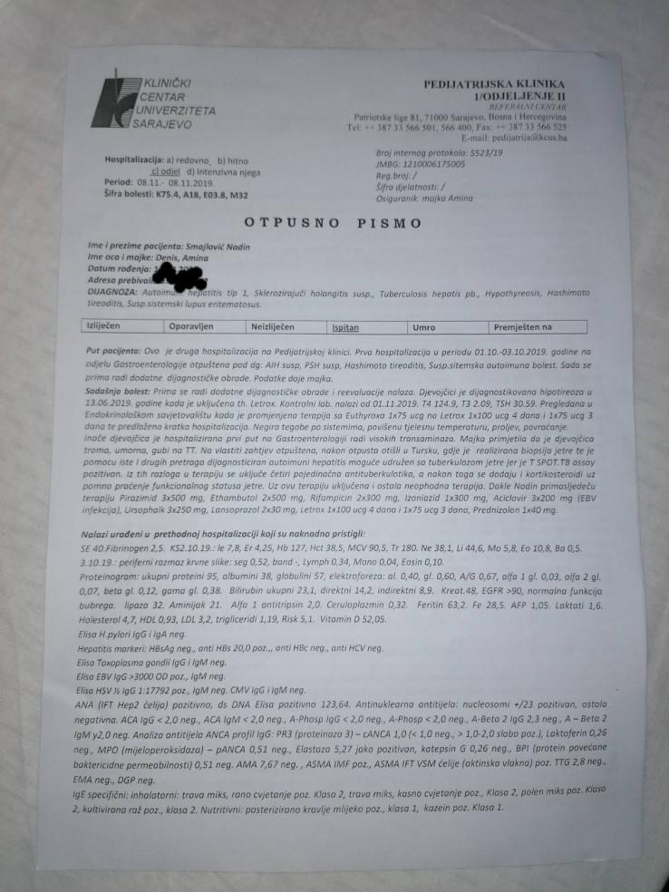 Faksimil otpusnog pisma djevojčice Nadin