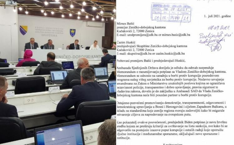 Pismo Ambasade SAD u BiH jutros stiglo na adresu Skupštine ZDK