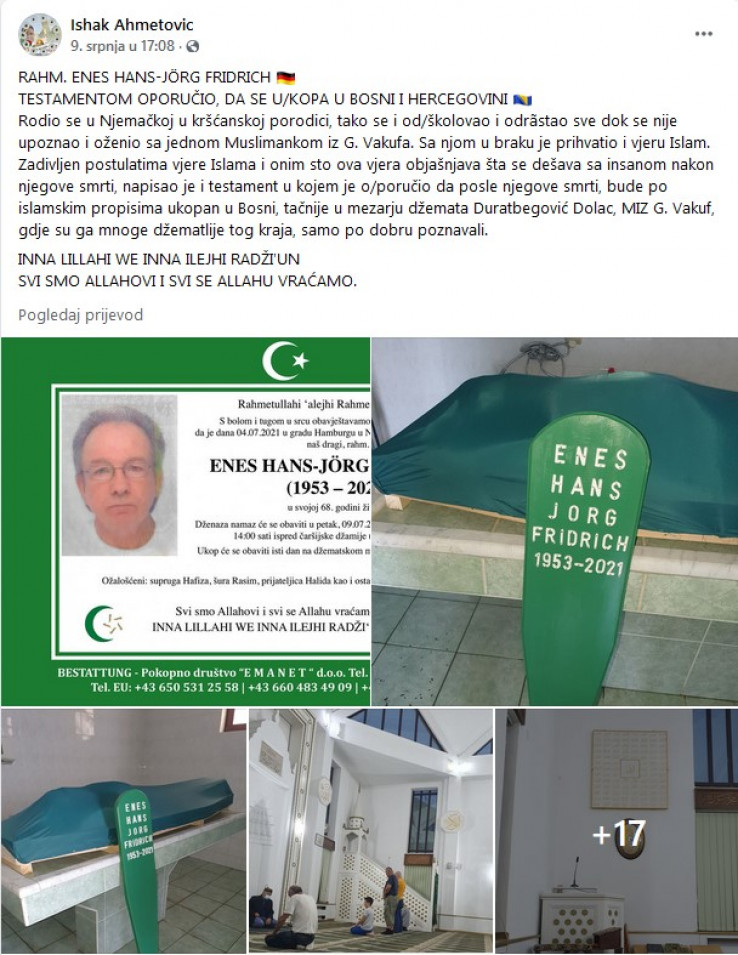 Facebook objava Ishaka ef. Ahmetovića