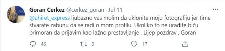 Objava Gorana Čerkeza