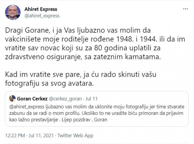 Odgovor Goranu Čerkezu