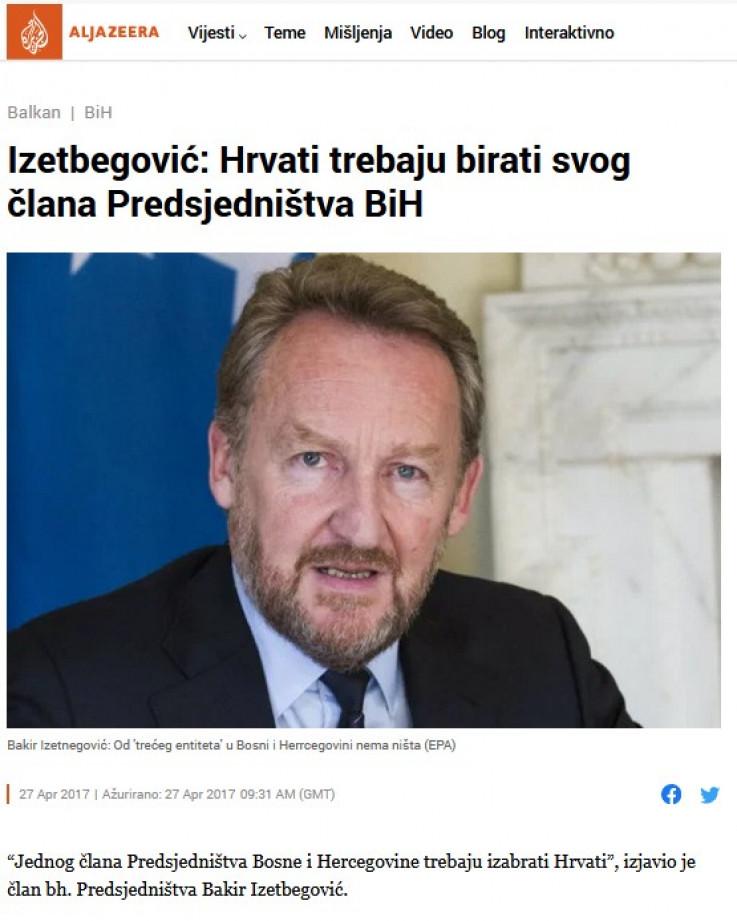 Izetbegovića izjava 27. aprila 2017. godine