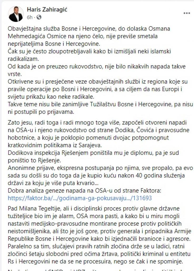 Komentar Harisa Zahiragića