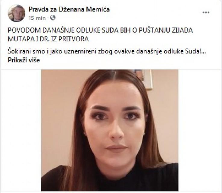 """Status grupe """"Pravda za Dženana Memića"""""""