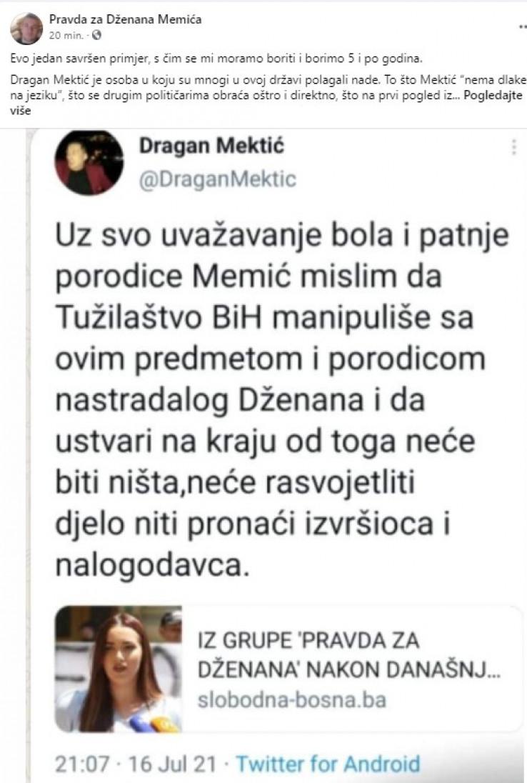 Faksimil odgovora porodice Memić