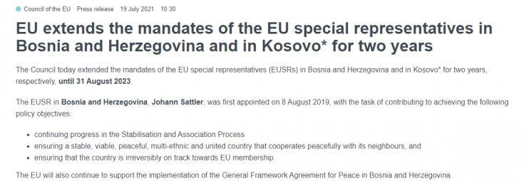 Produžen mandat specijalnih predstavnika EU