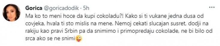 Objava Gorice Dodik na Twitteru