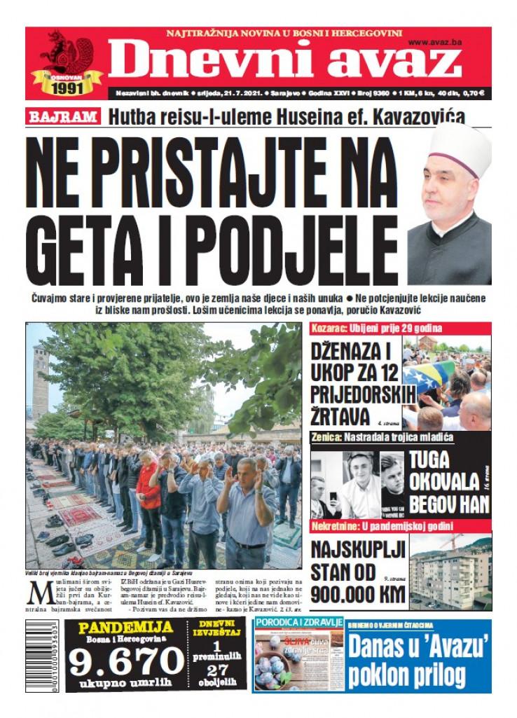 "Naslovnica dvobroja ""Dnevnog avaza"""