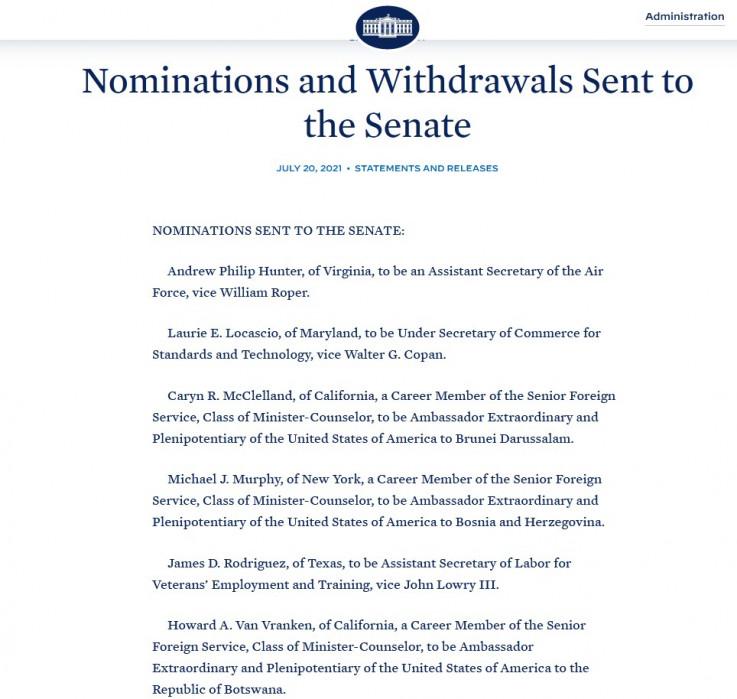 Nominacija poslata u Senat