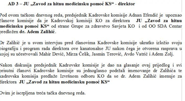Zapisnik sjednice Kadrovske komisije Kantonalnog odbora SDA