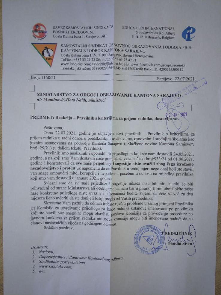 Dopis Sindikata koji je poslan resornoj ministrici