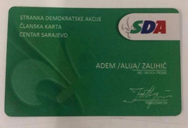 Objavljena članska karta SDA iz 2018.