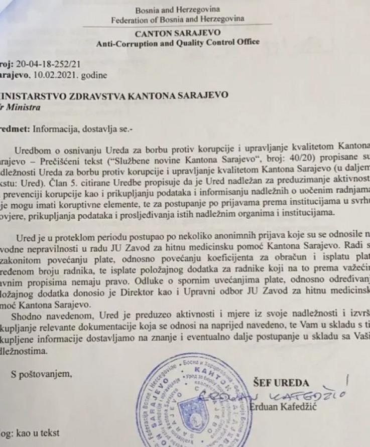 Faksimil informacije Ureda za borbu protiv korupcije