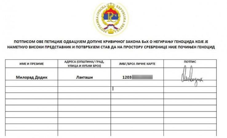 Dodik prvi potpisao peticiju