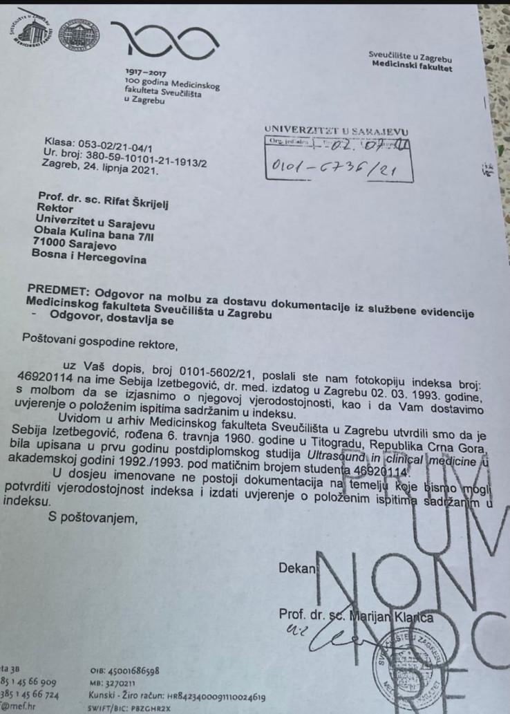 Šta je prije 15 dana odgovoreno Rektoratu UNSA-e