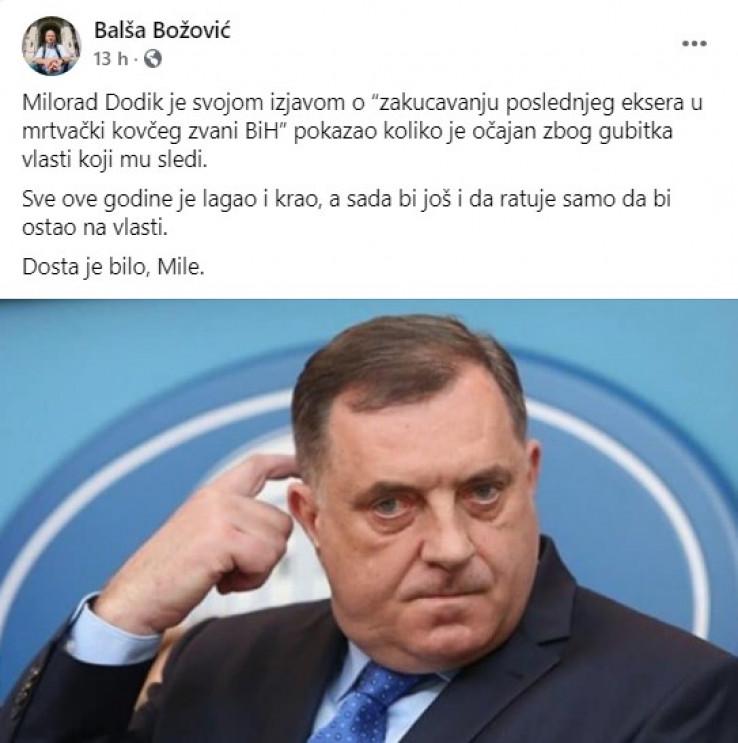 Objava Božovića na Facebooku