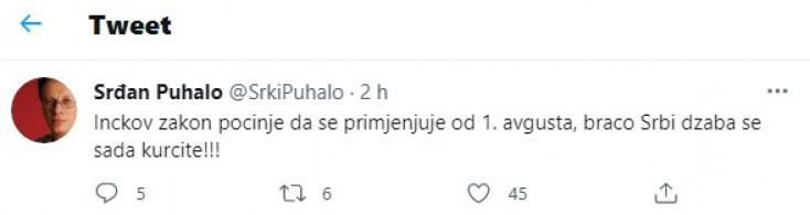 Jedna od objava Puhala na Twitteru