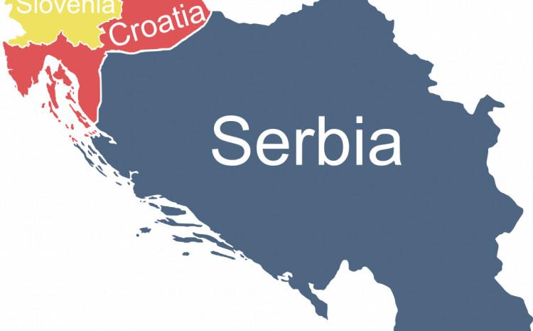 """Karta """"velike  Srbije"""" definirana  hipotetičkom granicom  Virovitica-Karlovac-Karlobag"""