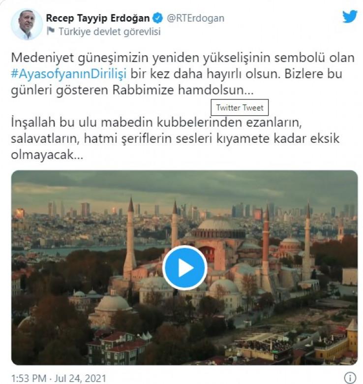 Erdoan podijelio na nalogu na društvenim mrežama video sa fotografijama prvog džuma-namaza