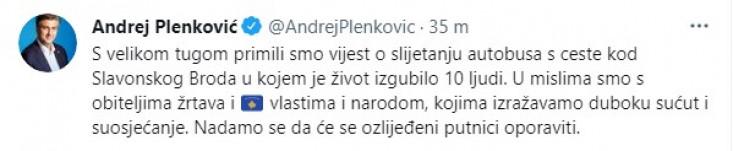 Objava Plenkovića na Twitteru