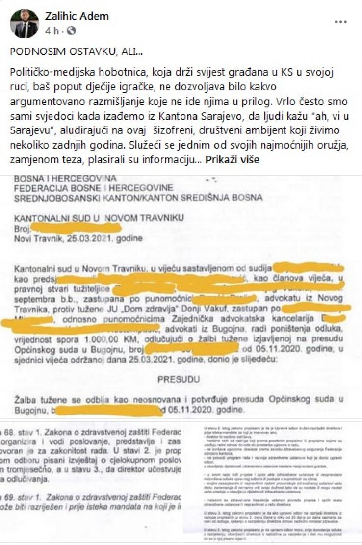 Status koji je objavio Zalihić