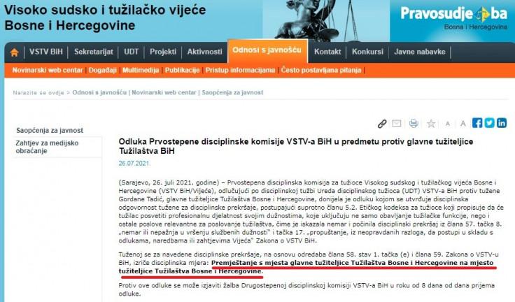 """Faksimil saopćenja VSTV-a: """"Avaz"""" je među prvima objavio vijest koristeći službenu formulaciju iz saopćenja VSTV-a da se Gordani Tadić izriče disciplinska mjera """"premještanje s mjesta glavne tužiteljice Tužilaštva Bosne i Hercegovine na mjesto tužiteljice Tužilaštva Bosne i Hercegovine"""""""