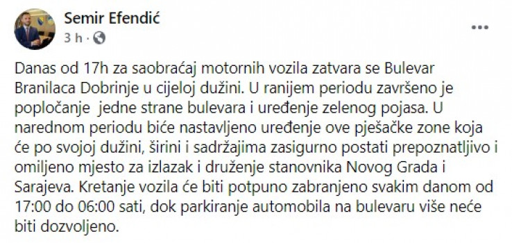 Objava načelnika na Facebooku