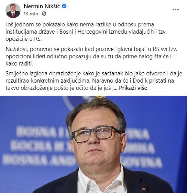 Objava Nikšića na Facebooku