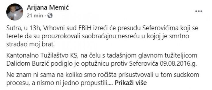 Objava Arijane Memić na Facebooku
