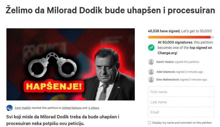 Peticija za hapšenje Dodika