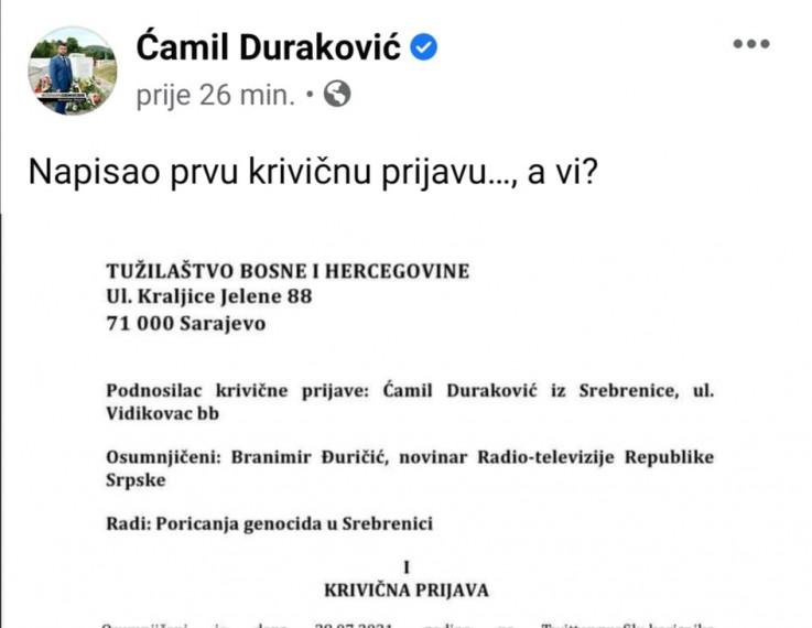 Prijava protiv Branimira Đuričića