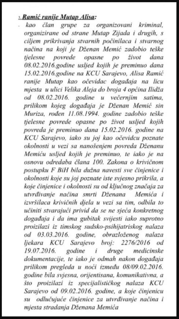 Faksimil optužnice Tužilaštva koju je potvrdio Sud BiH