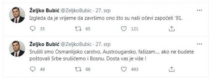 Tweet Željka Bubića
