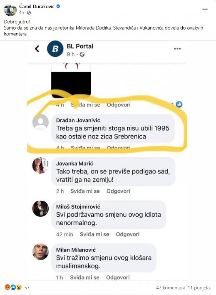 Duraković objavio gnusne poruke