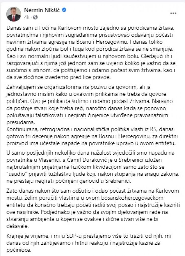 FB komentar Nermina Nikšića