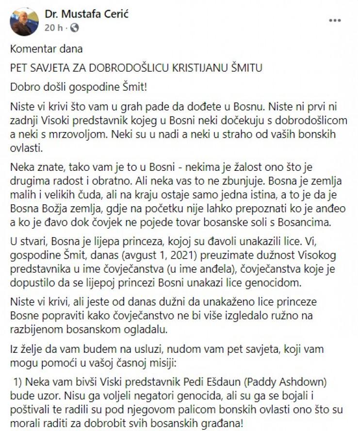 Objava Cerića na Facebooku