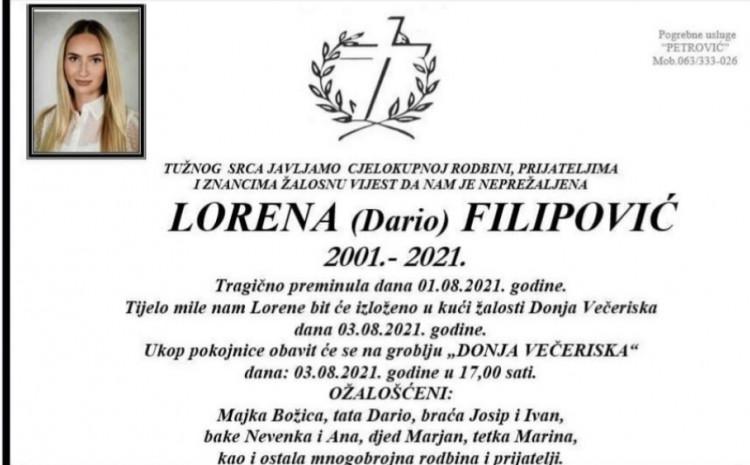 Sutra sahrana Loreni Filipović