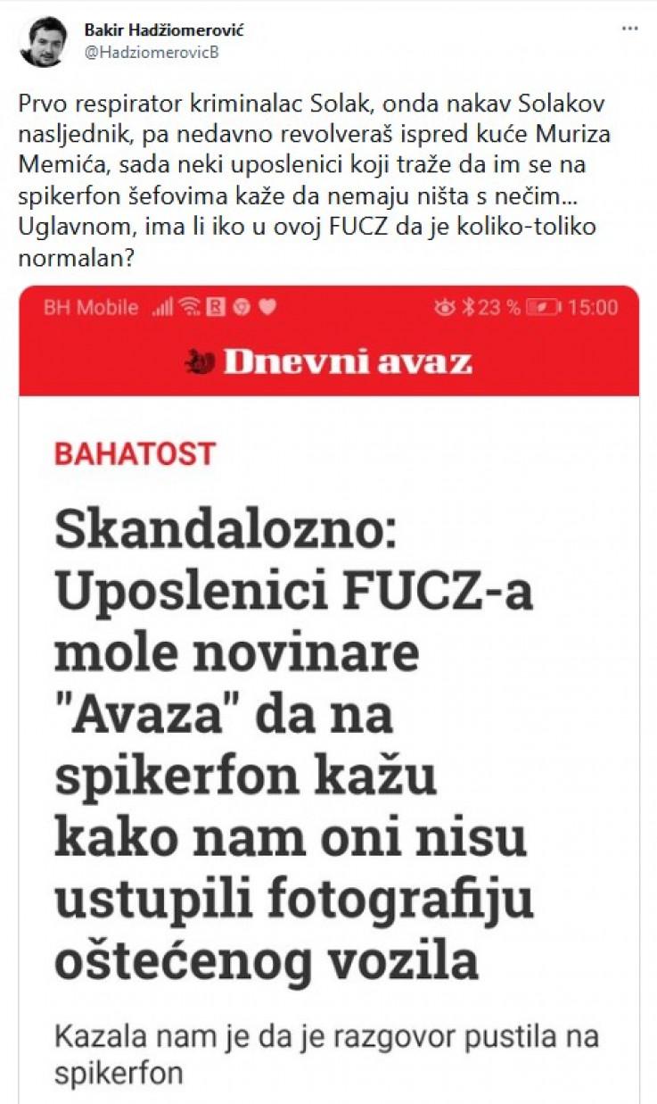 Status koji je objavio Hadžiomerović