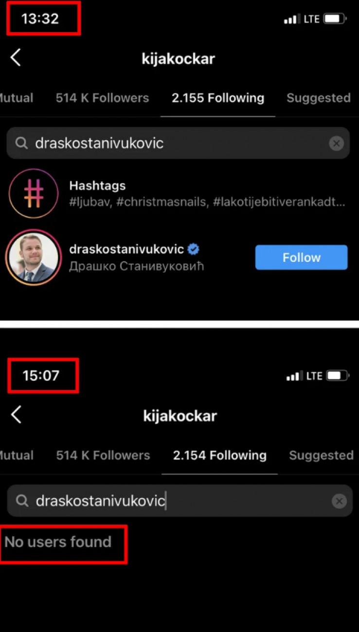 Samo nekoliko sati ranije ga je pratila na Instagramu