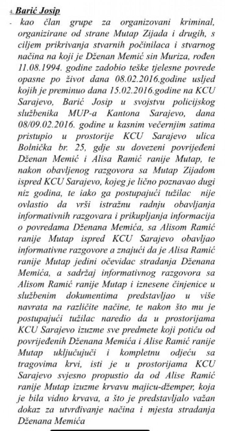 Faksimil optužnice protiv Josipa Barića